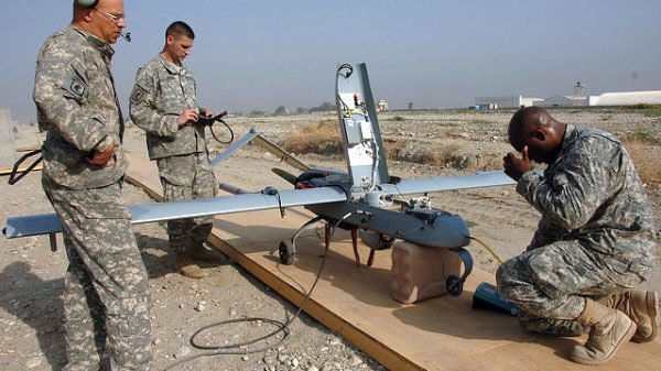 U.S. Army sargeants conduct final checks on a Shadow Unmanned Aerial Vehicle (UAV) on Forward Operating Base Fenty in Jalalabad, Afghanistan, March 2008. (Photo/U.S. Army via Flickr)