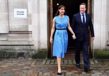 British Prime Minister David Cameron and his wife Samantha leave after casting their votes in the EU referendum, at a polling station in London on June 23, 2016. Millions of Britons began voting Thursday in a bitterly-fought, knife-edge referendum that could tear up the island nation's EU membership and spark the greatest emergency of the bloc's 60-year history. / AFP PHOTO / LEON NEALLEON NEAL/AFP/Getty Images
