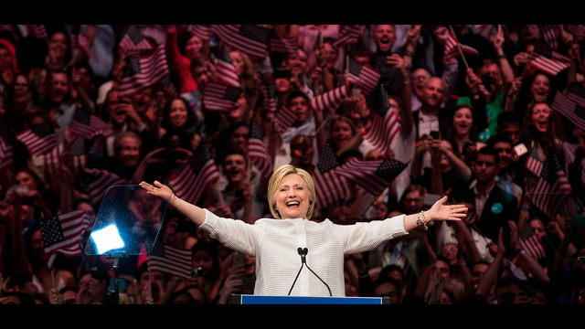 NEW YORK, NY - JUNE 7: Democratic presidential candidate Hillary Clinton arrives onstage during a primary night rally at the Duggal Greenhouse in the Brooklyn Navy Yard, June 7, 2016 in the Brooklyn borough of New York City. Clinton  has secured enough delegates and commitments from superdelegates to become the Democratic Party's presumptive presidential nominee. She will become the first woman in U.S. history to secure the presidential nomination of one of the country's two major political parties. (Photo by Drew Angerer/Getty Images) *** BESTPIX ***