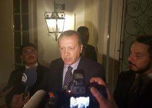 Turkish President Tayyip Erdogan speaks to media in the resort town of Marmaris, Turkey, July 15, 2016.    REUTERS/Kenan Gurbuz  TPX IMAGES OF THE DAY