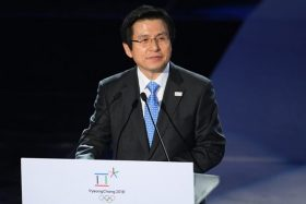 3024074 02/09/2017 Prime Minister of the Republic of Korea Hwang Kyo-ahn speaks at the Olympics 2018 One Year to Go Ceremony in PyeongChang. Ramil Sitdikov/Sputnik