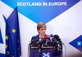 """Scotland's First Minister Nicola Sturgeon delivers a speech during a media conference at the Scotland House in Brussels as she is on a one day visit to meet with EU officials, on June 29, 2016. Scotland's First Minister Nicola Sturgeon said she was """"heartened"""" by her talks with EU officials today but said there was no """"automatic easy path"""" to protecting her country's status in the EU after Brexit. / AFP / POOL / Geoffroy Van der Hasselt (Photo credit should read GEOFFROY VAN DER HASSELT/AFP/Getty Images)"""