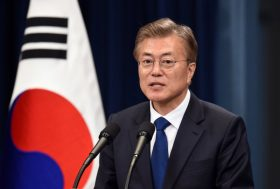 South Korea's new President Moon Jae-In speaks during a press conference at the presidential Blue House in Seoul on May 10, 2017.   Moon was sworn in just a day after a landslide election victory, and immediately declared his willingness to visit Pyongyang amid high tensions with the nuclear-armed North. / AFP PHOTO / POOL / JUNG YEON-JE        (Photo credit should read JUNG YEON-JE/AFP/Getty Images)