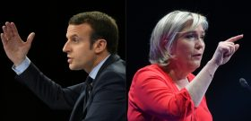 (COMBO)(FILES) This combination of file pictures created on April 30, 2017 in Paris shows a December 10, 2016 photo of French presidential election candidate for the En-Marche movement, Emmanuel Macron (L) speaking during a campaign rally in Paris, and a March 11, 2017 photo of French presidential election candidate for the far-right Front National (FN) party, Marine Le Pen speaking during a campaign rally in Deols. With a week to go before France's presidential election runoff, far-right candidate Marine Le Pen stayed on the offensive against frontrunner Emmanuel Macron on April 30, 2017, trying to close a 19-point gap in the polls. / AFP PHOTO / Eric FEFERBERG AND ALAIN JOCARD