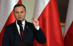 WARSAW, POLAND DECEMBER 09: (SOUTH AFRICA AND POLAND OUT) Andrzej Duda; the President of Poland attends the final gala of the first edition of the Polish Presidents Award called Dla Dobra Wspolnego (For the Common Good) on December 09, 2016 in Warsaw, Poland. The award aims to promote attitudes, activities and civic projects for the common good. (Photo by Maciej Gillert/Gallo Images Poland/Getty Images)