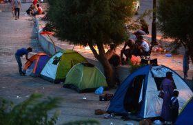 2697746 09/11/2015 Middle Eastern refugees at the Mytilini embankment on Lesbos, Greece. Mikhail Voskresenskiy/RIA Novosti