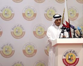 DOHA, QATAR - JULY 04 : Foreign Minister of Qatar Mohammed bin Abdulrahman bin Jassim Al-Thani speaks during a joint press conference with German Foreign Minister Sigmar Gabriel (not seen) in Doha, Qatar on July 04, 2017. Mohamed Farag / Anadolu Agency