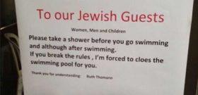 Unhôtelsuisse a placardé une affiche demandant à ses clients juifs de se doucher avant d'entrer dans la piscine