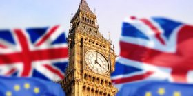 Concept photo Brexit - London with english and european flag