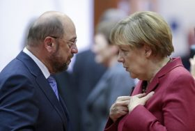 epa05759362 (FILE) - A file picture dated 23 October 2014 shows German Chancellor Angela Merkel (R) and the President of the European Parliament, Martin Schulz (L) talk prior to the start of the EU Summit at the EU Council headquaters in Brussels, Belgium. Schulz on 29 January 2017 was officially nominated by the Social Democrats (SPD) party chair as SPD's as top candidate to take on Chancellor Merkel in German general elections in September 2017. He is scheduled to be elected as party chairman during a extraordinary party confention in March. EPA/OLIVIER HOSLET